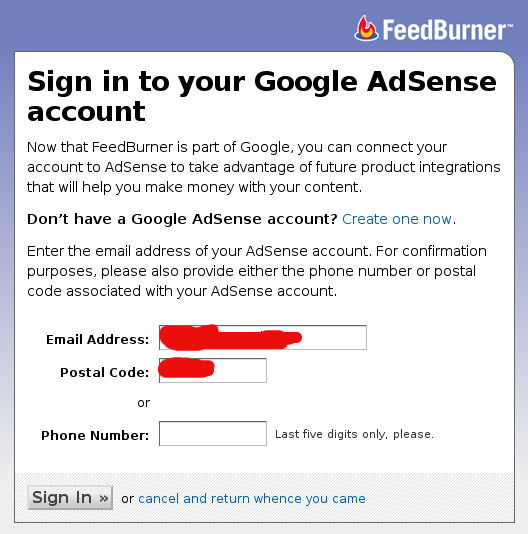 login adsense feedburner