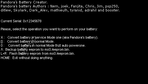 pandora battery downgrade psp