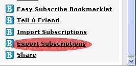 exporter rss depuis bloglines