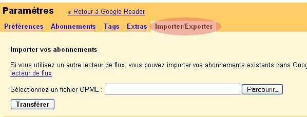 import rss opml google reader