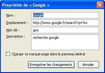 Raccourcis de recherche google dans firefox