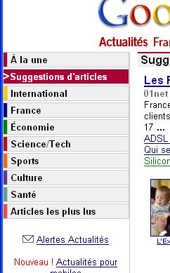 google news sugestion d'articles