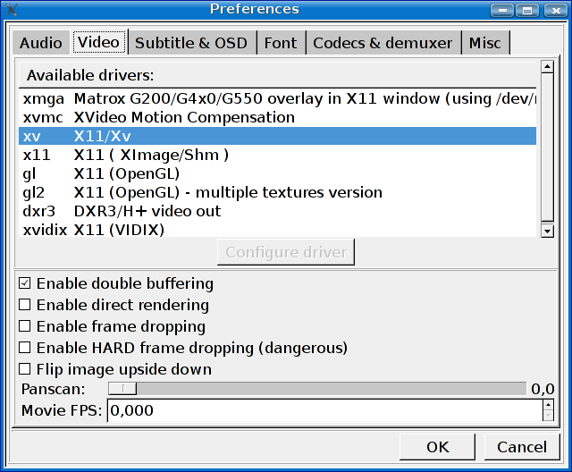 mmplayer driver video X11